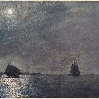 Watercolor painting of boats on water at night
