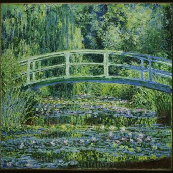 impressionist painting of waterlilies and bridge