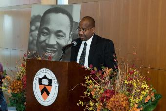 Princeton council member Lance Liverman speaks at a community breakfast in honor of Martin Luther King Jr.