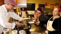 Chef Alexander Trimble leads a healthy cooking class at HomeFront
