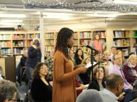 Joanne Adebayo, a senior at Princeton High School, presents her story at last December's Labyrinth Books event highlighting the work of CHOOSE, an initiative to overcome racism and inspire harmony led by high school and undergraduate college students. The