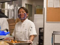 campus dining chef wears mask