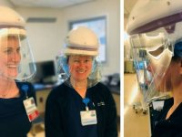 Healthcare workers wearing face shields